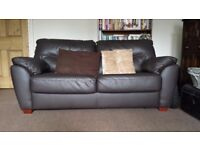 Brown Leather Metal Sprung 2 seater sofa bed. Double bed .