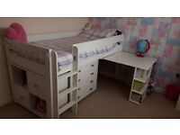 Stompa white midsleeper with drawers, desk and storage cube