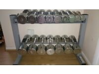 Chrome Dumbbell Set And Rack 8 Pairs