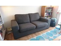Mid grey fabric sofa / couch , generous 2 seater