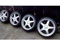 "VW, Audi, Seat, Skoda genuine O.Z, ABT 18"" alloys with very good tyres."