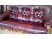 Leather three piece suite,
