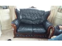 Black Italian leather suite. 3 , 2 and 1 seater.