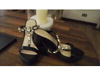 Ladies black wedge sandals,size 38/5