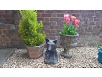 Set of pots and fox made from stone