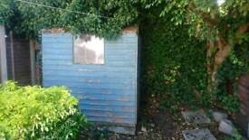 Shed. Paving sand. Reclaimed timber all free