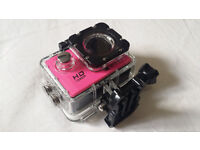 PINK Waterproof Sports Camera Full HD 1080P 12MP Helmet DV Action camera UK 170deg