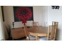 Round extendable dining table with 4 chairs and sideboard light oak