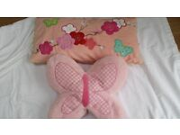 Two Pink Cushions Butterfly & Heart Shape Excellent condition
