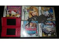 Nintendo ds lite in red with games bundle