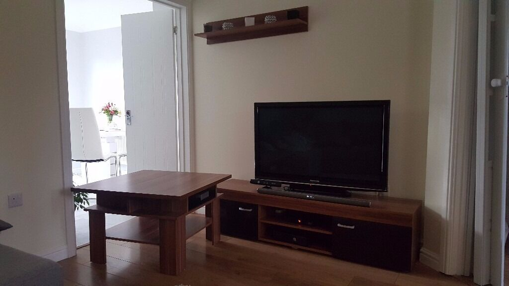 TV cabinet unit coffee table and wall shelf setin Brackla, BridgendGumtree - Set of 3 units 80x80 solid coffee table with 2 drawers 160cm tv cabinet 100cm wall shelf The set is 4 months old, look like brand new, no scratches, bought for £220