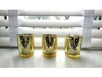 Speckled gold votive candle holders - Qty 20