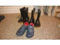 boys clarks shoes size 6f and two pairs of wellies