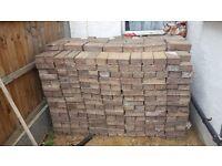 Red mono block paving bricks