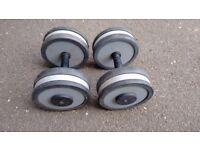 Pair of 20 kg Technogym Dumbbells - Commercial gym quality dumbbells
