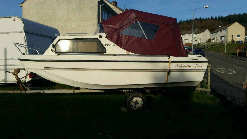 14ft boatin GlasgowGumtree - For sale the friendly bear 14ft fishing boat with canopy and trailer. Beautiful little boat in real good condition only been used in fresh water, has small Internal cabin which holds upto 3 people, including 9.8 mercury engine well maintained...