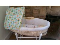 Nearly new Moses basket and rocking stand