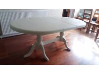 Extending Solid Pine dining room table painted In Annie Sloane chalk paint