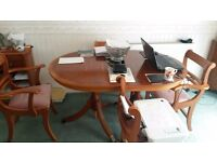 Yew Dining Table + 6 Chairs