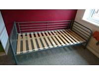 Ikea svarta single bed metal frame with wooden slats