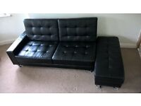 Black Faux Leather Sofa / Sofa Bed (Description and Size Included)