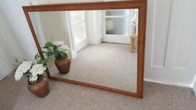 Very large pine bevelled mirror in great condition 134 x 103 cm