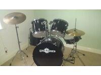 Full Size Black Gloss Starter Acoustic Drum Kit by Gear4Music