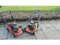 2 garden mowers petrol spares or repair