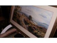 large decorative print of the moors mounted framed by artist rex ,n.preston entitled moorland view