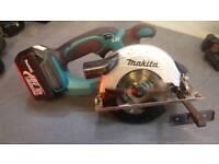 Makita LXT 18v circular rip saw with battery an 4x New blades.