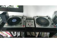 Ion turntables, mixer headphones, mic, headphones and speaker