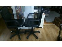 Black executive mid back office chair, gas lift and tilt functions. 2 available. Excellent condition