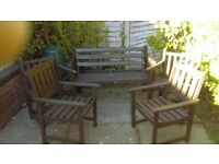 GARDEN BENCH AND FOUR ARMCHAIRS ( 2 X PAIR) , WOOD, GOOD CONDITION, WOULD SEPARATE