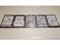 "Job lot of 5x 2.5"" Laptop Hard Drives (3x 320GB 7mm + 2x 250GB) Tested, Formatted, Fully working"