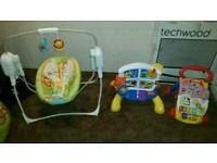 Musical rocking swing + 2 other toys