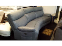 EX-SCS GREY FABRIC/ENDURANCE LEATHER CURVED SOFA ELECTRIC RECLINERS+USB PORTS