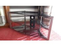 Smoked Glass and Brushed Stainless Steel Tv Unit