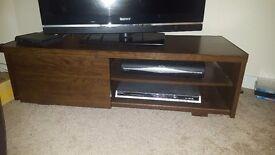 Dark wood sliding door tv stand