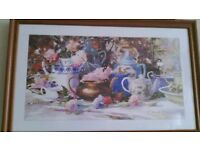 'Antique Teapots' Picture in wooden frame