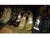 Bundle of womans high heels and shoes size 3/4's