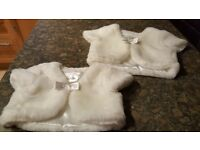 2 girls fake fur cream bolero's