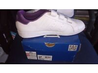 Ladies Lonsdale White with purple trim trainers Brand new in box size 7 velcro fastening