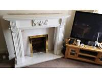 Wood fire surround mantle