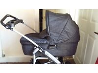Mamas and Papas Pram Travel System with carrycot, pushchair, stand, mattress and rain cover.