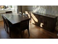 Dining Table (Extendable) & 6 Chairs, plus matching sideboard