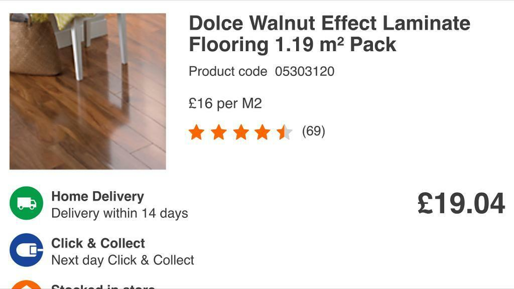 26 Packs Of Dolce High Gloss Walnut Effect Laminate Flooring