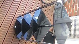 Black Glass 4 shelf corner free standing unit