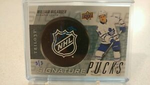 RARE William Nylander trilogy auto puck
