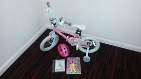 GIRLS BIKE WITH LIGHTS & HELMET - AGES 4 & OVER - 14 INCH (36.5CM) - FAIRIES THEME