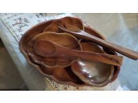 Wooden Salad Table Set with Fork & Spoon Used In good Condition